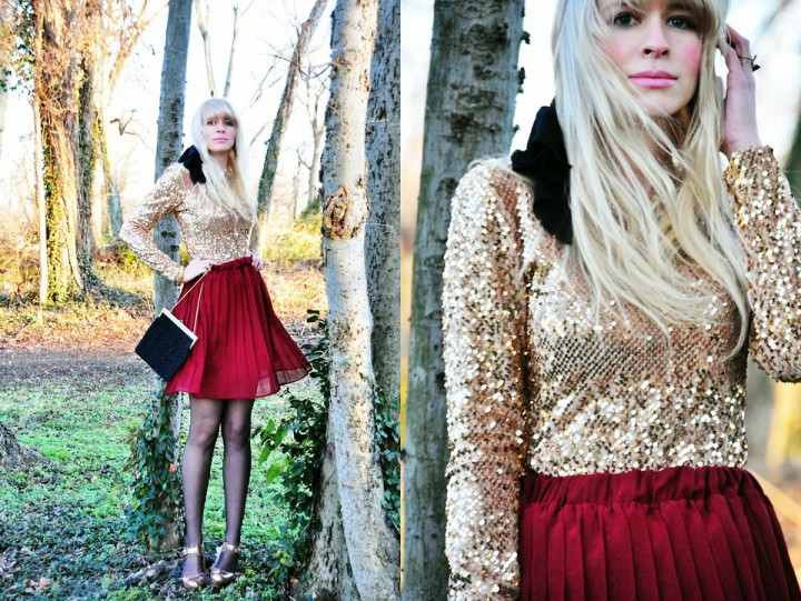 Gold Sequin Blouse with Red Skirt