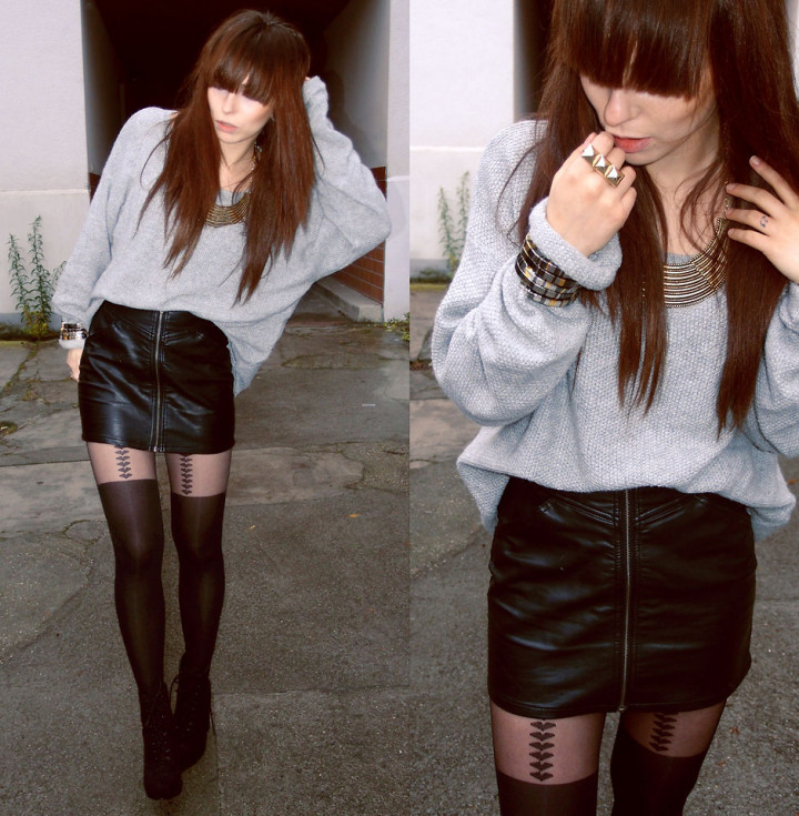 Rock edgy outfit with leather skirt