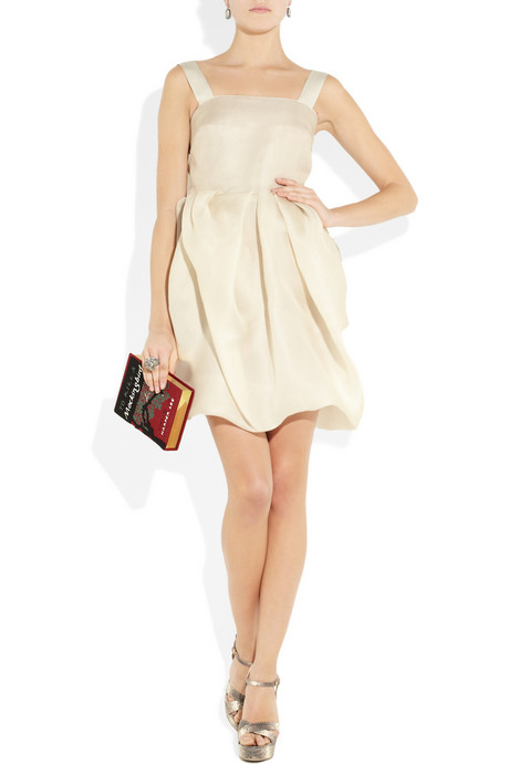 Outfit Net-a-Porter - Peach dress - clutch Olivia Le-Tan