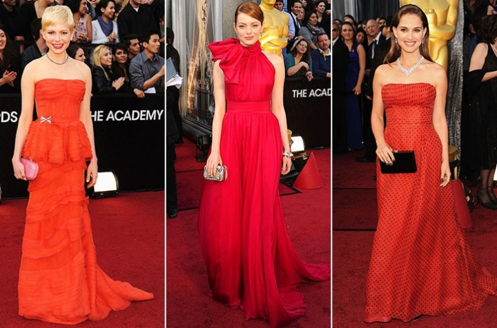 Michelle Williams - Louis Vuitton || Emma Stone - Giambattista Valli || Natalie Portman - Dior