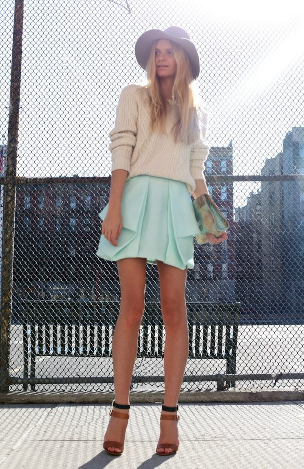 Pleated colored skirt