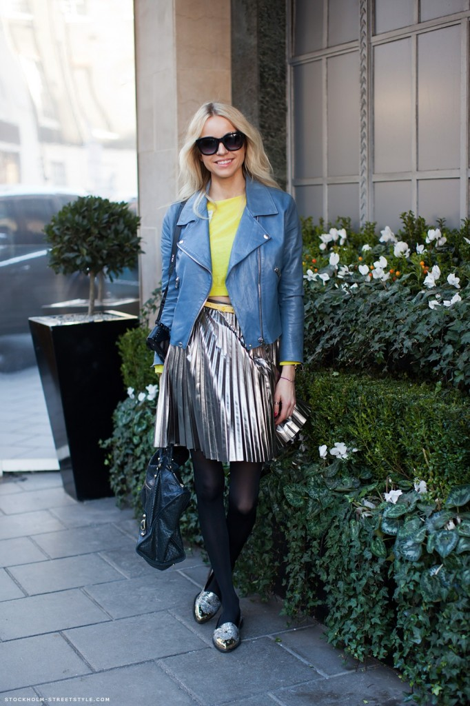 Pleated silver skirt - via Stockholm Streetstyle