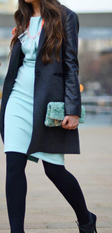 Blue dress - Street casual outfits in New York for spring