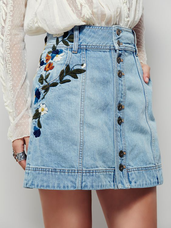 embroidered-denim-skirt