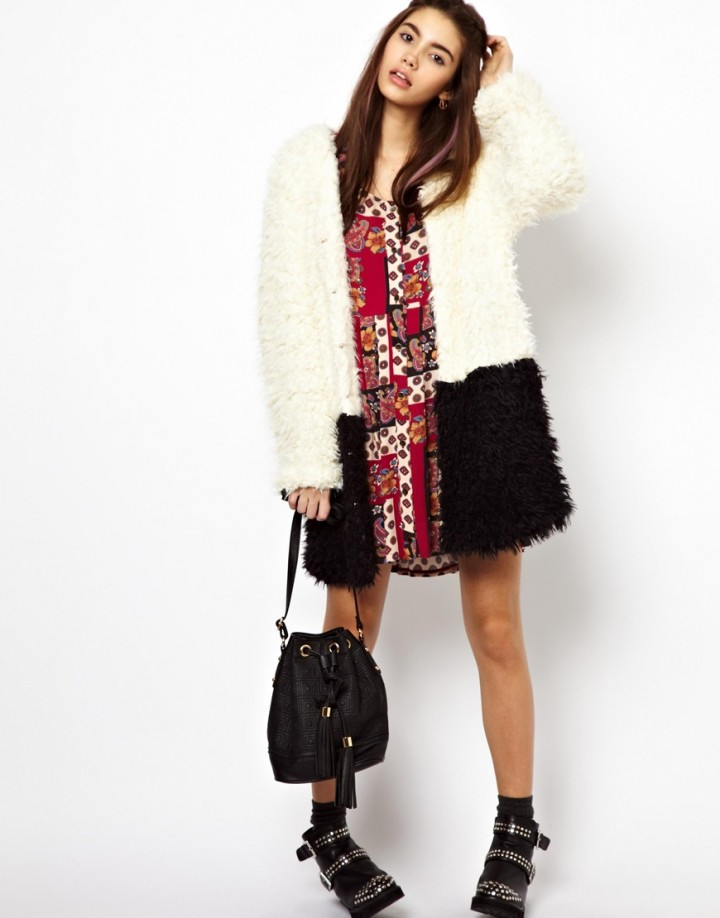 Black and White fur coat
