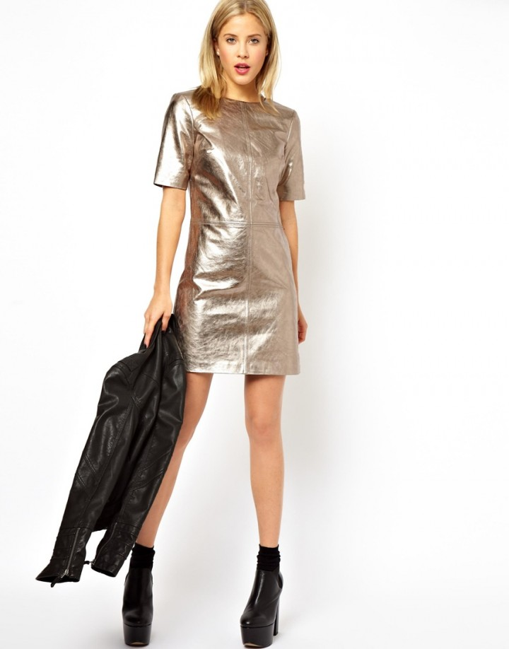 The metallic leather dress party outfits